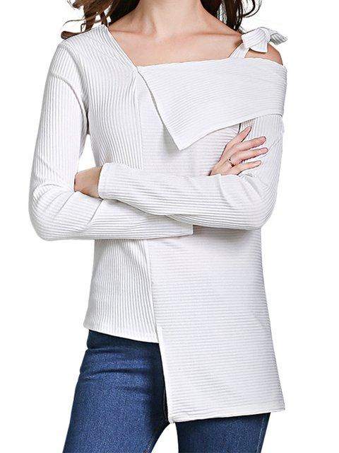 One Shoulder Solid Asymmetric Knit Wear Tops