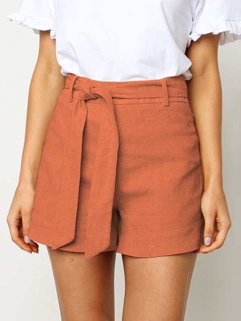 Sweet & Cute Solid Lady's Shorts With Belt Bottoms