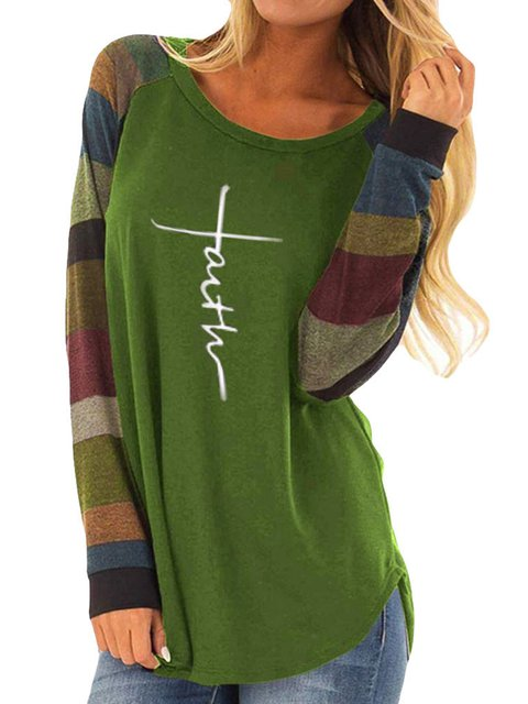 Casual Color-Block Letter Printed/dyed Crew Neck Pullover T-Shirts