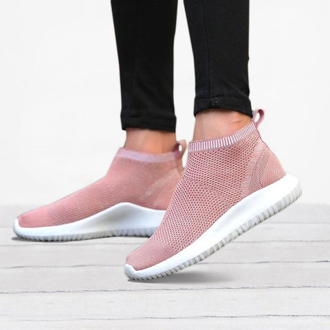 Women's Flyknit Breathable Sneakers Slip On Sport Shoes