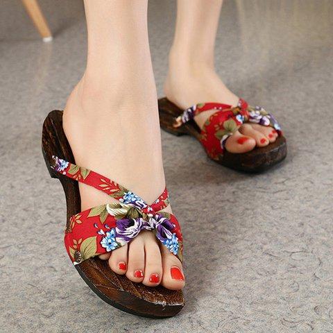 Women Vintage Wooden Bowknot Slippers