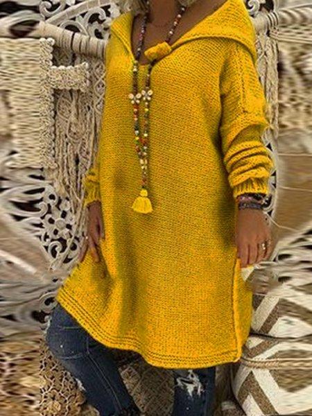 Warm Hoodie Knitted Long Sleeve Vintage Long Sweaters