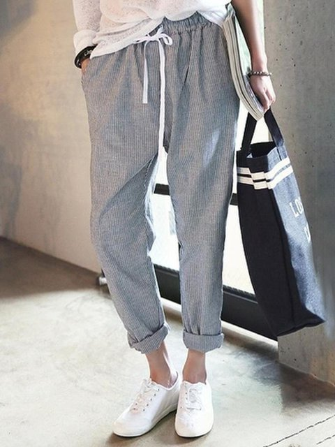 All Season Natural Casual Linen Stripes Women Pants