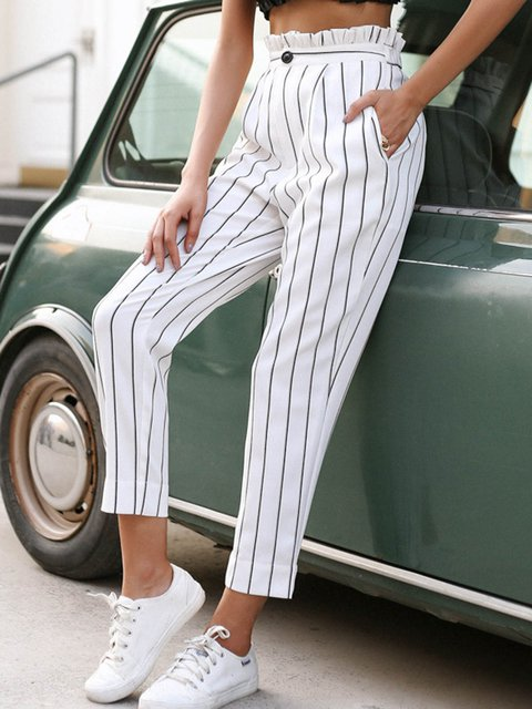 Women's Casual Buttoned Striped Pants