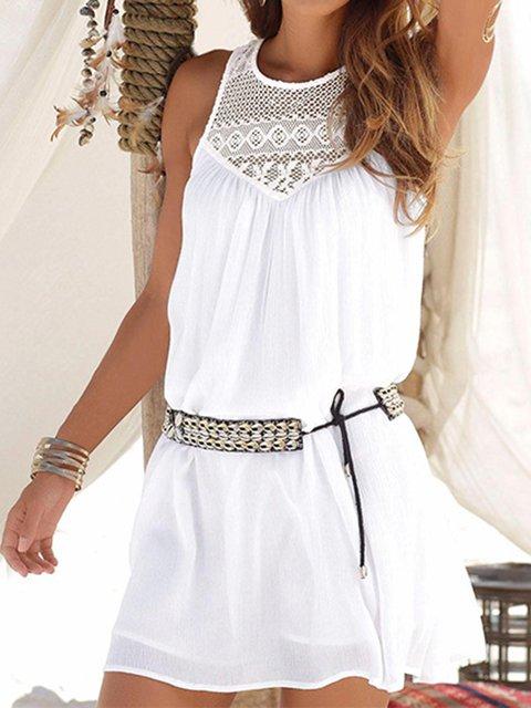 Crew Neck Women Summer Dresses Daily Cutout Solid Dresses