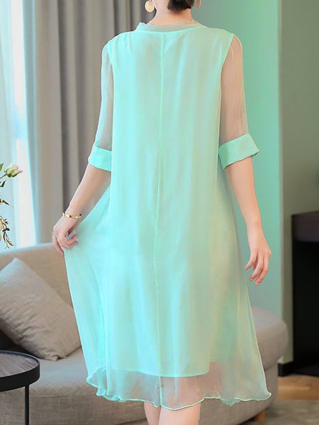 Light blue Shift Women Daily Statement Half Sleeve Floral Elegant Dress