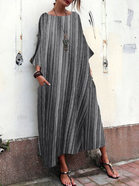 Crew Neck Women Spring Dresses Cocoon Daily Printed Stripes Dresses