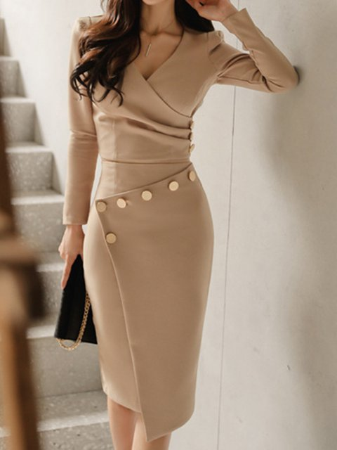 V Neck Women Spring Dresses Sheath Daily Work Dresses