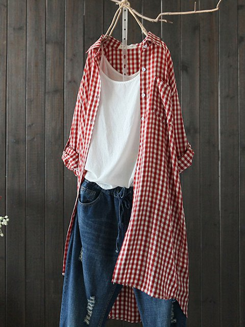 Checkered/plaid Gingham Casual Shirt Collar Tops