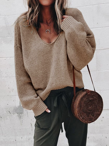 V Neck Casual Long Sleeve Knitted Sweaters