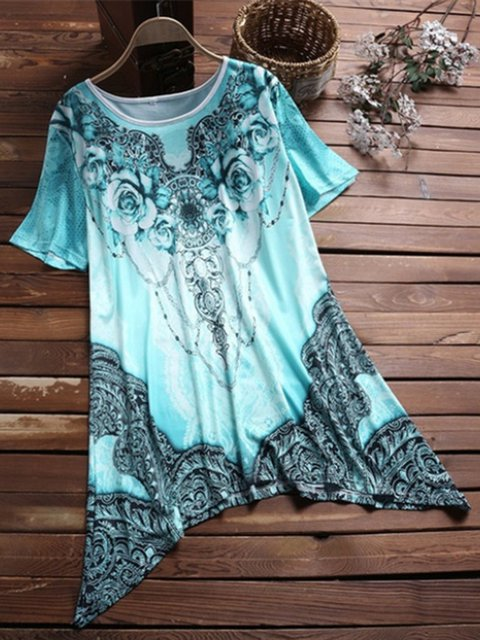 Women Shift Casual Floral Printed Asymmetric T-Shirts
