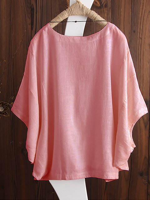 Plus Size Solid Basic Simple Printed Half Sleeve Crew Neck Tops