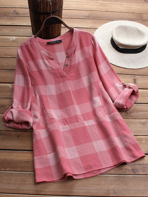 Women Casual Long Sleeve Checker Tops