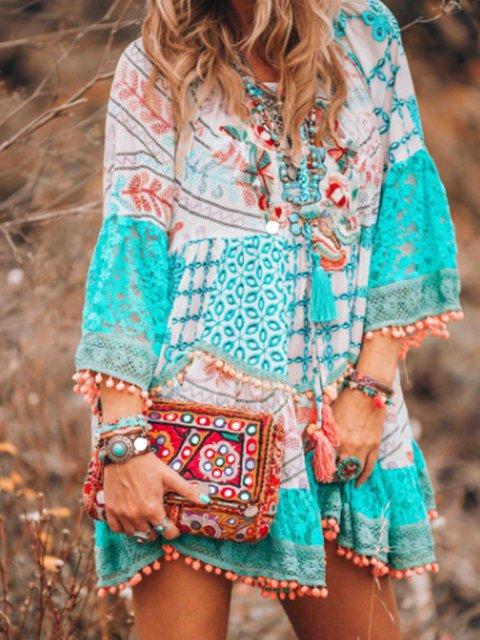 V Neck Light Blue Women Summer Dresses Daily Boho Cotton-Blend Dresses