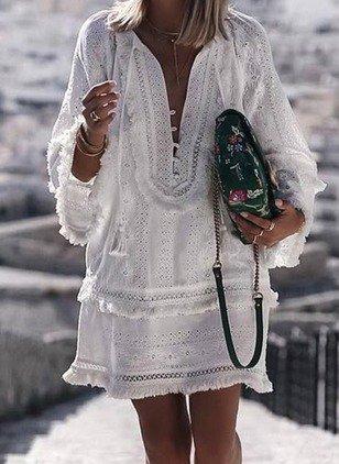 V Neck Women Summer Dresses Shift Beach Casual Solid Dresses