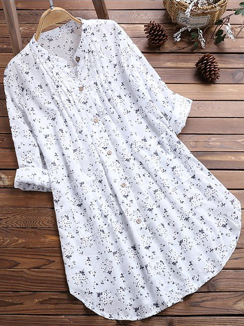 Floral-Print Casual Long Sleeve Stand Collar Dresses