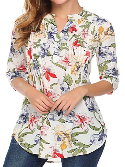 Half Sleeve Casual Floral Printed Stand Collar Blouses