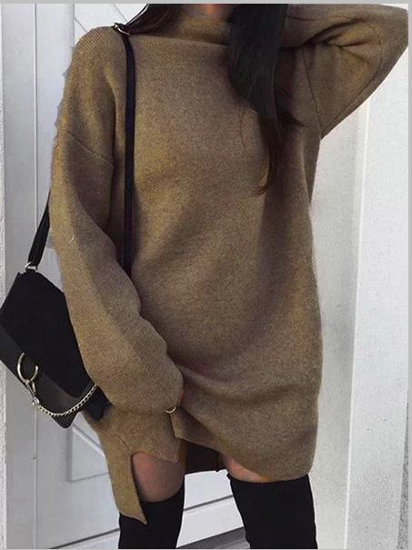 Turtle Neck  Shift Women Daily Casual Knitted Long Sleeve  Spring Dress