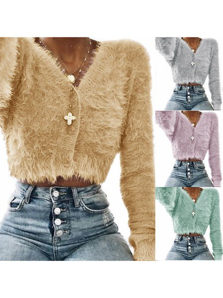 Casual Long Sleeve Solid Mohair Winter Sweater