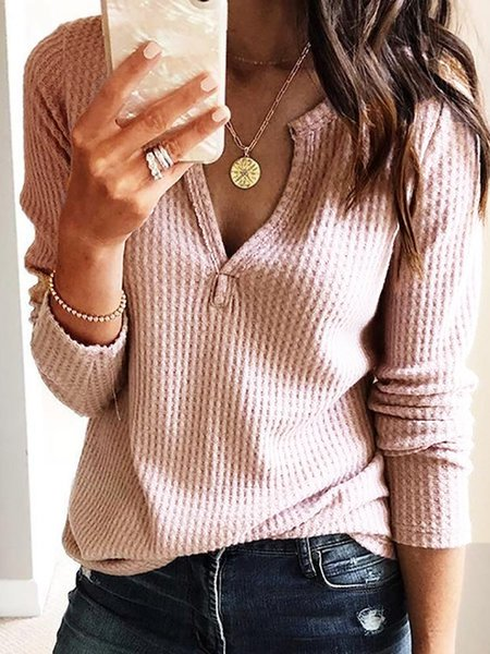 Pink Casual Cotton V neck Long Sleeve Solid T-Shirt
