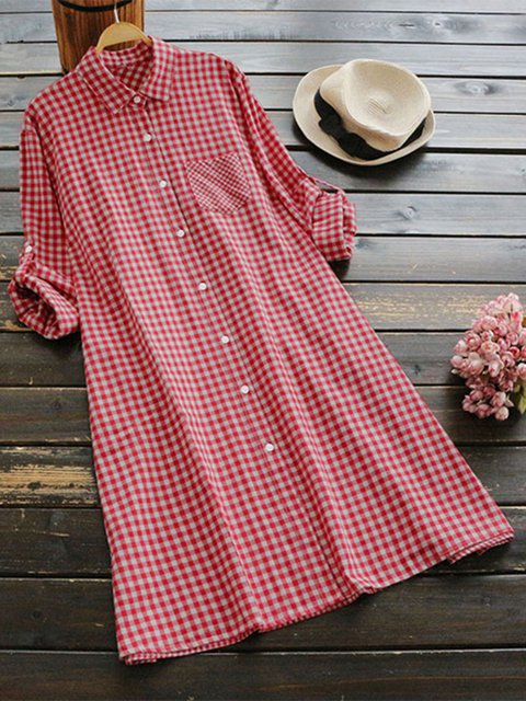 Shirt Collar Women Casual Dresses Shift Daily Cotton Dresses
