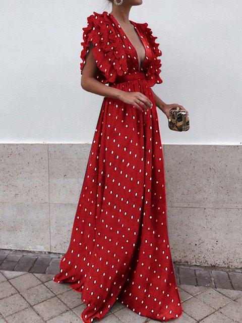Surplice Neck Women Prom Dresses Party Polka Dots Dresses