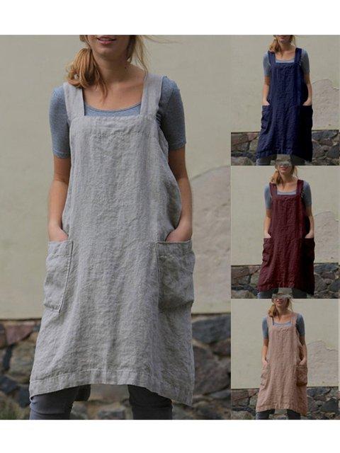 Square Neck Women Summer Dresses Shift Daily Cotton-Blend Pockets Dresses