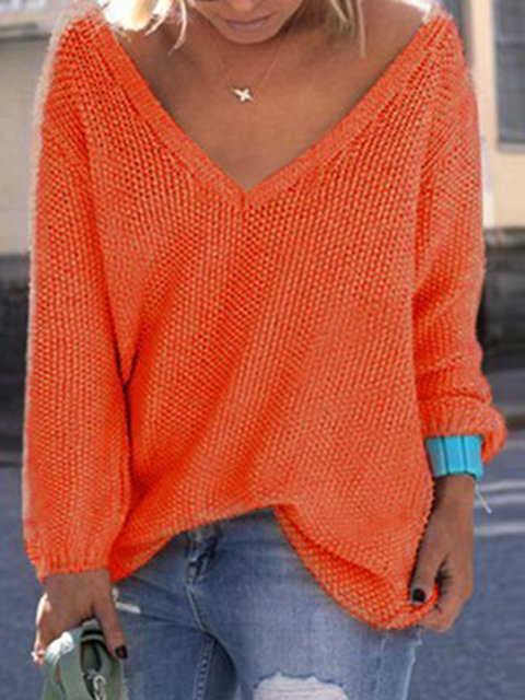 Pink Knitted V Neck Long Sleeve Solid Sweater