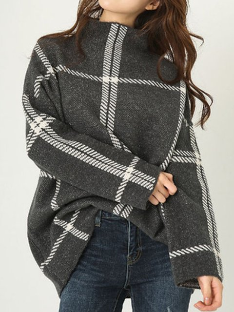 Deep Gray Long Sleeve Turtleneck Knitted Checkered Sweater