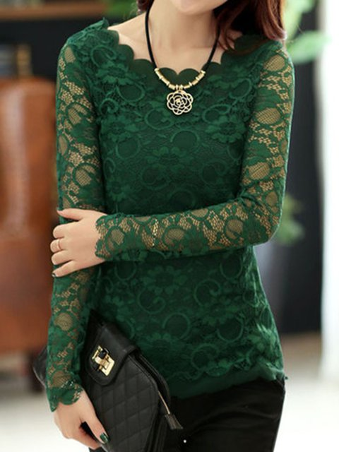 Casual Guipure  Lace Long Sleeve Blouse