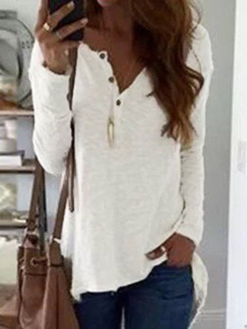 Solid Long Sleeve V neck Cotton T-Shirt