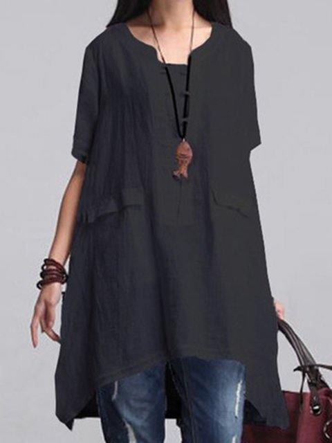 Solid Casual 3/4 Sleeve Linen Plus Size T-Shirt