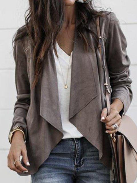 Paneled Casual Long Sleeve Shawl Collar Jacket
