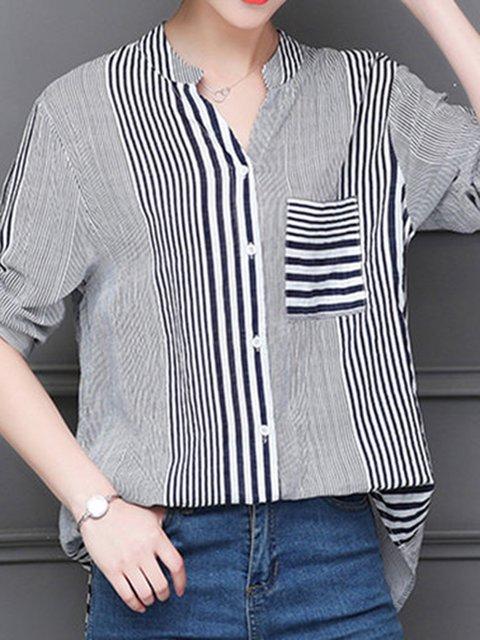 Blue Paneled Linen Striped Elegant Plus Size Shirt