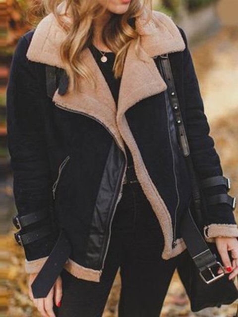 Long Sleeve Lapel Casual Solid Faux Fur Jackets for Women