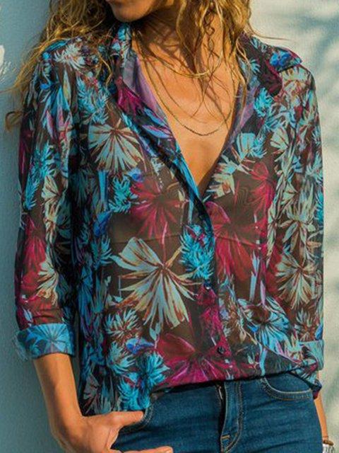 Blue Vintage Floral Shirt Collar Printed Blouses