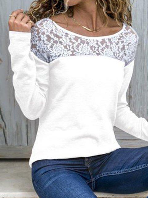6 Colors Color-Block Lace Panel Simple & Basic Patchwork T-Shirts