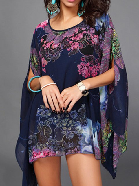 Floral Crew Neck Half Sleeve Elegant Floral-print T-Shirt