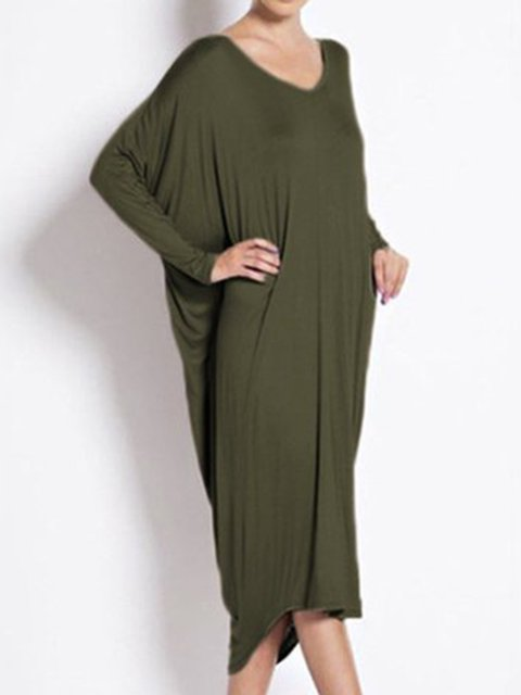 V neck  Cocoon Women Daily Casual Cotton Long Sleeve Spring Dress