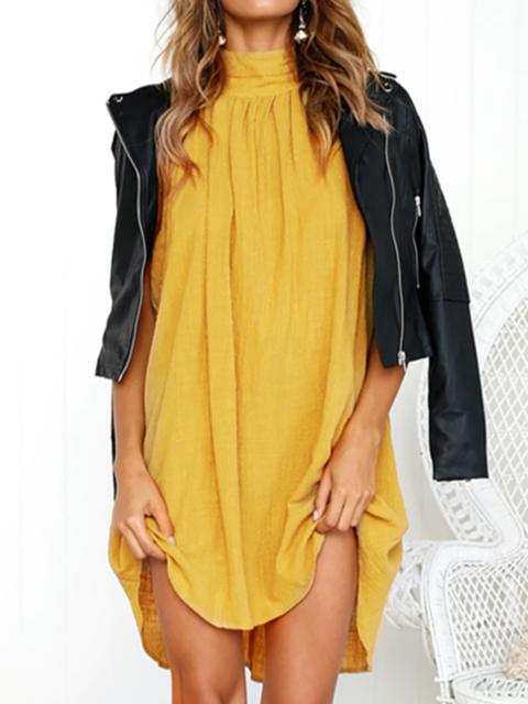 Summer Women Linen Daily Basic Turtle Neck Sleeveless Boho Solid Dress