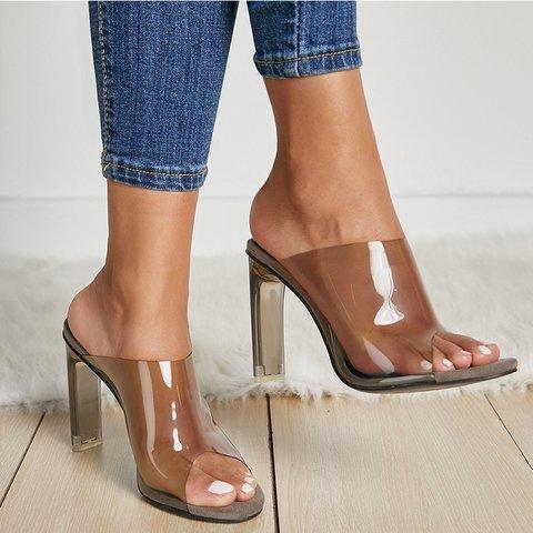 Summer High Heel Shoes Slip-On Peep Toe Sandals