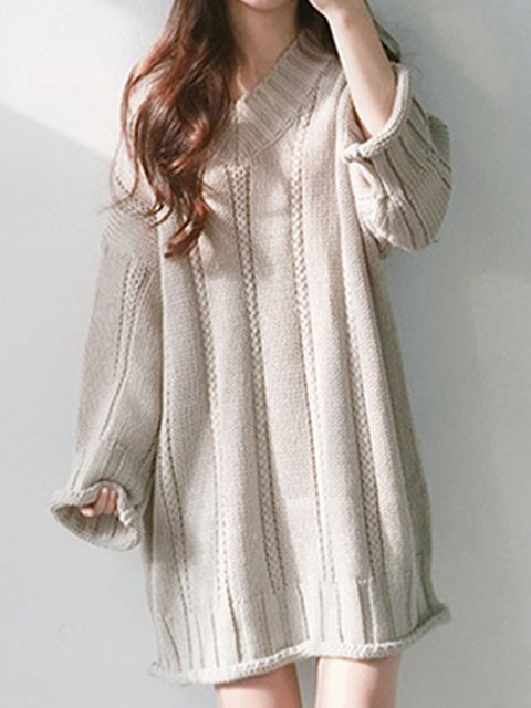 V neck  Shift Women Daily Long Sleeve Acrylic Knitted Casual Dress