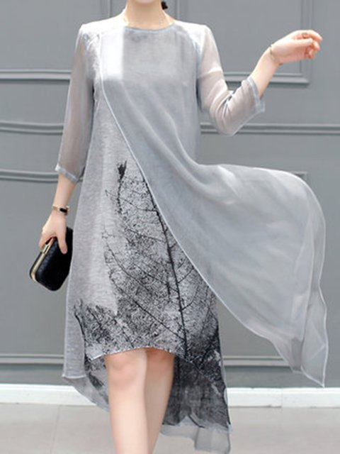 Gray Women Elegant 3/4 Sleeve Slit  Elegant Dress