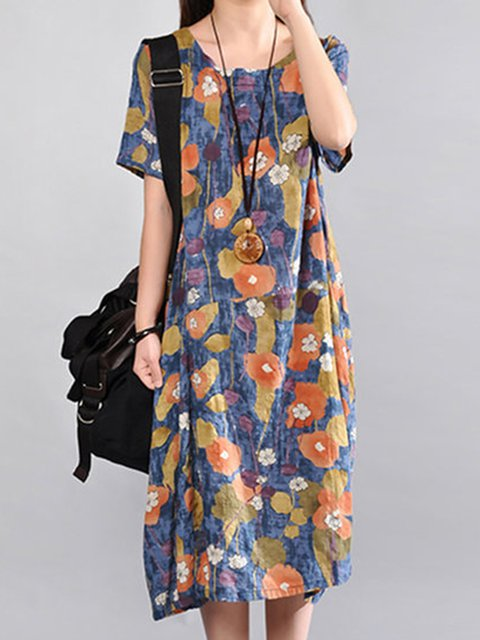 Cocoon Women Short Sleeve Cotton Casual Printed Floral Casual Dress