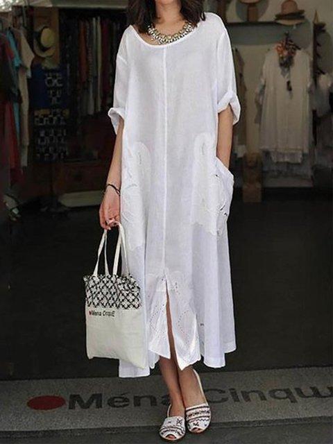 White Shift Women Beach Holiday Cotton 3/4 Sleeve Paneled Summer Dress