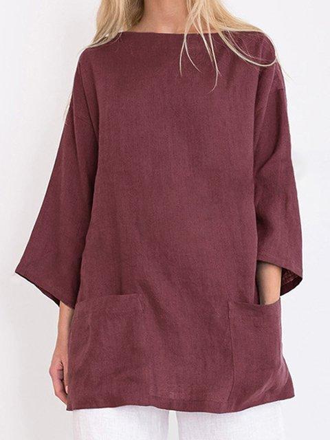 Casual Linen Round Neck Plus Size Blouses