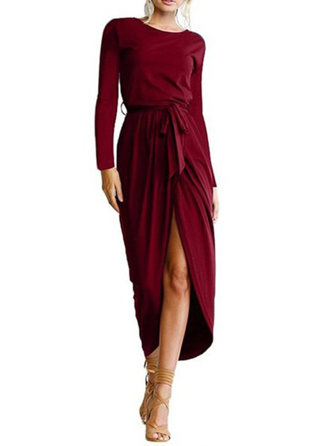 Asymmetrical Women Daily Long Sleeve Casual Slit Solid Spring Dress