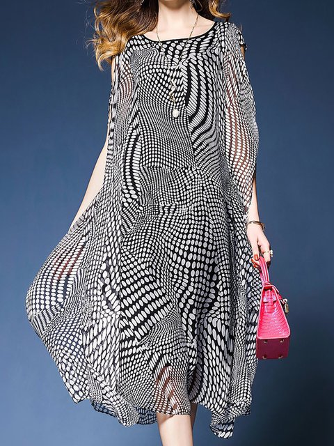 Bateau/boat neck Black Women Daytime Casual Short Sleeve Polka Dots Elegant Dress