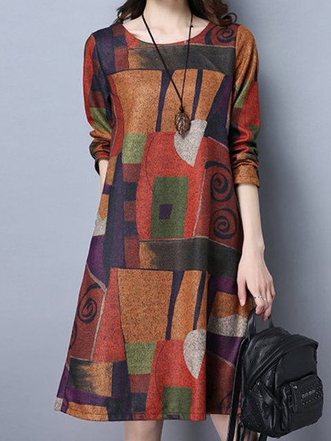 A-line Women Going out Casual Long Sleeve Abstract Casual Dress