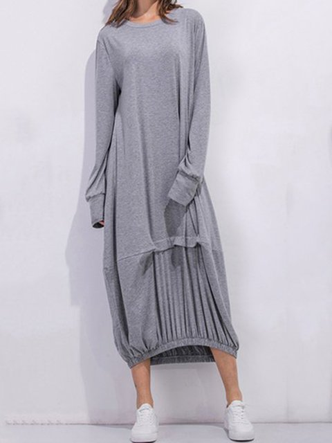 Cocoon Women Daily Cotton Long Sleeve Casual Paneled Plain Spring Dress